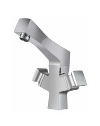 CENTRAL HOLE BASIN MIXER WITH REG. SPOUT WITH 450MM BRAIDED HOSES
