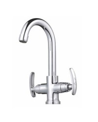 CENTRAL HOLE BASIN MIXER WITH REG. SPOUT BRAIDED HOSES