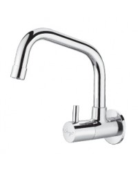 SINK COCK WITH SWINGING EXTENDED SPOUT WITH WALL FLANGE
