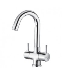 CENTER HOLE BASIN MIXER WITH REG. SPOUT WITH BRAIDED HOSES