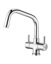 CENTER HOLE BASIN MIXER WITH EXTENDED SPOUT WITH BRAIDED HOSES
