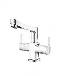 CENTRAL HOLE BASIN MIXER WITH REG. SPOUT WITH 450MM BRAIDED HOUSES